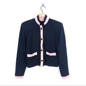 St John By Marie Gray Navy Pink Button Blazer 8